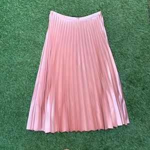 Zara Pink Pleated Midi Skirt